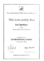 Сертификат судьи международной категории